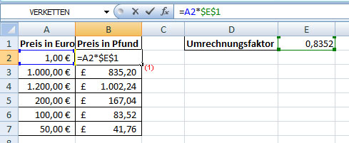 Absoluter Bezug mit Excel