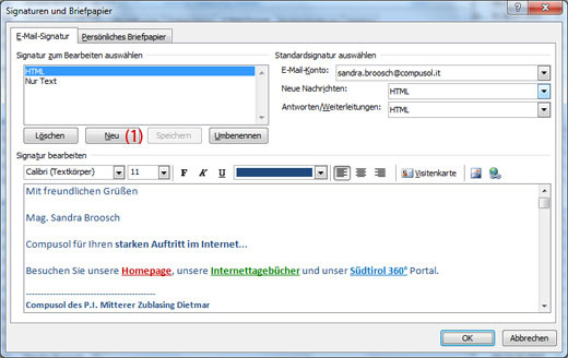 E Mail Signatur Erstellen Internetagentur Südtirol Homepage