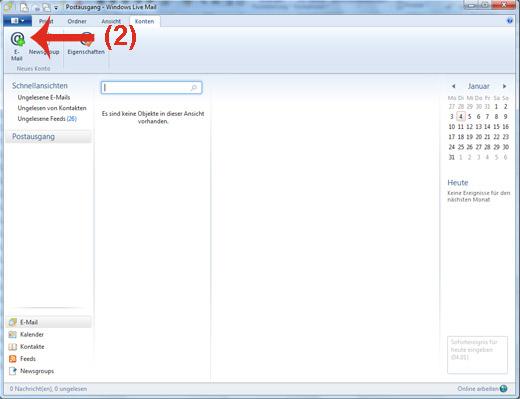 E-Mail-Adresse in Windows Live Mail hinzufügen