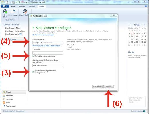Emailadresse in Windows Live Mail anlegen