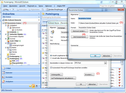Microsoft Outlook Persönliche Ordner Datei