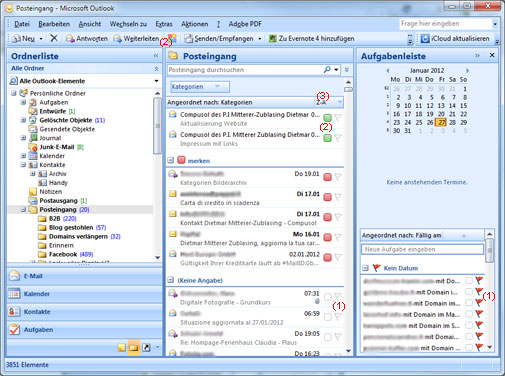 Outlook Kategorien und Nachverfolgung