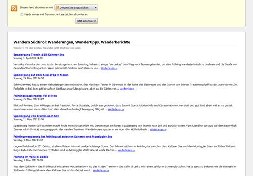 So sieht ein RSS Feed aus. Besipiel RSS-feed der Website diewanderer.it