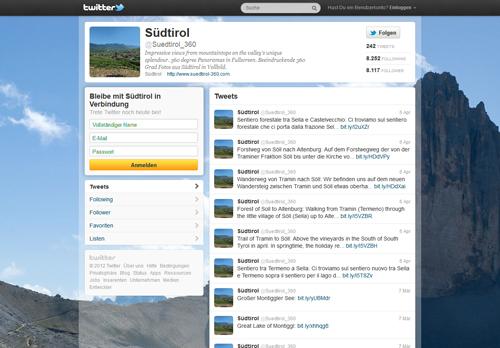 Sreenshot vom Twitter Account von suedtirol-360.com