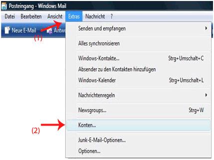 E-Mail-Adresse in Windows Mail hinzufügen